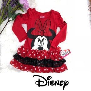 NWT Minnie Mouse Tee Shirt Dress with Tiered Skirt
